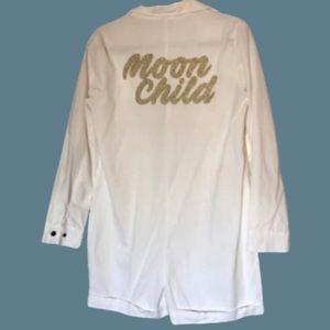 Boho white long sleeved shorts romper jumpsuit